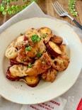 鶏肉とさつま芋と蓮根のハニーマスタード炒め