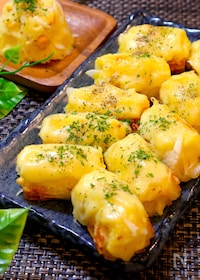 『【残ったポテサラをアレンジ!!】ちくわとポテトのチーズ焼き』