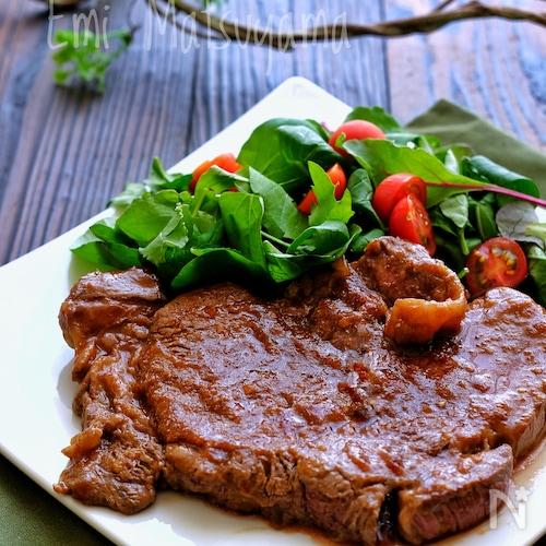 特売厚切りステーキがキウイと舞茸の酵素で柔らか!極上に!