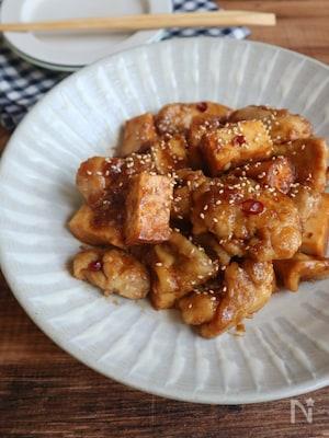 鶏肉と厚揚げの甘辛黒酢炒め