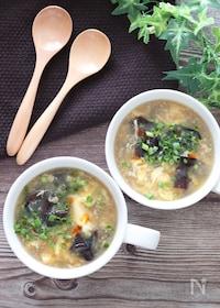『5分で完成♡キクラゲとふわふわ卵の中華とろみスープ』