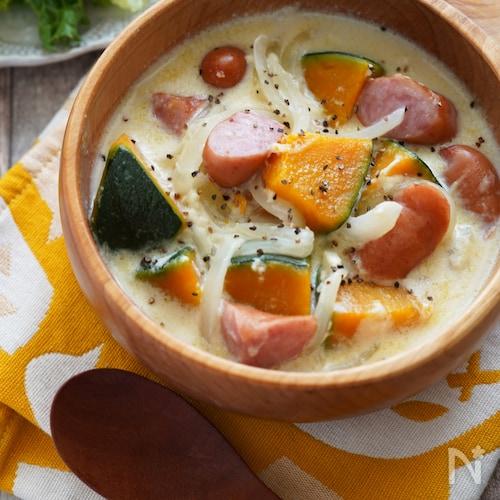 1人前・ごろごろカボチャとウインナーの豆乳味噌クリームスープ