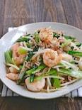 むき海老とひき肉と小松菜ともやしの旨塩炒め
