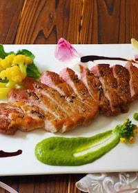 『ポークステーキ〜菜の花ソース』