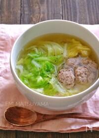 『簡単豚団子とキャベツの味噌スープ』