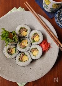 『水菜と肉みその簡単のり巻き』