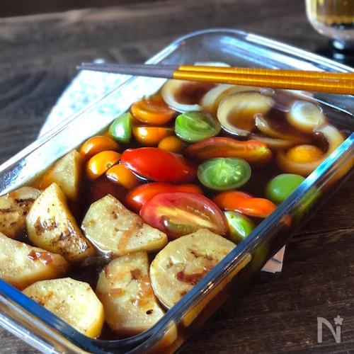 冷やしてさっぱり♡焼き白なすと夏野菜のポン酢ピクルス
