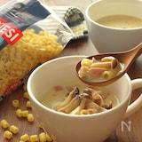 しめじとベーコンの和風豆乳スープ