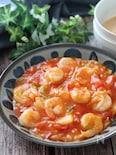 5分で旨味たっぷり♡むき海老とトマトのキムチとろみ炒め