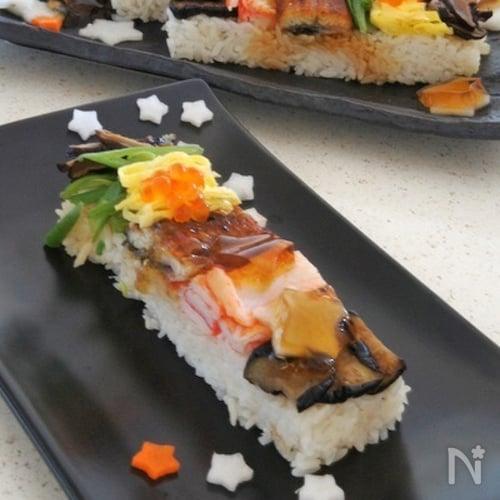 七夕五色短冊寿司そうめんつゆ ゼリー載せ