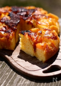 『もっちり!桃のアップサイドダウンケーキ』