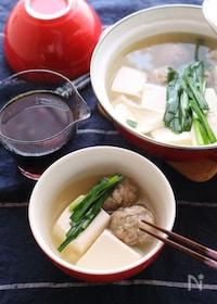 『れんこんがいいシゴトしてくれます!れんこん入り肉団子の湯豆腐』