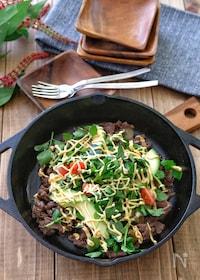 『*牛肉のガーリックバルサミコ炒めのサラダ仕立て*めんたいマヨ』