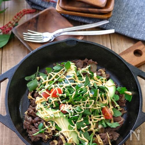 *牛肉のガーリックバルサミコ炒めのサラダ仕立て*めんたいマヨ