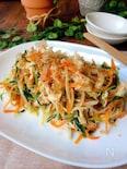 おかずサラダ*水菜とにんじんと鶏ささみのわさび・ポン酢サラダ