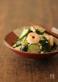 『残暑のサッパリメニュー 豆腐と海老のサラダ』
