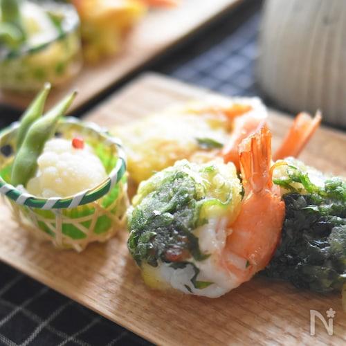【お弁当・おつまみにも】背開きえびの梅しそ天ぷら。