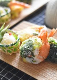 『【お弁当・おつまみにも】背開きえびの梅しそ天ぷら。』