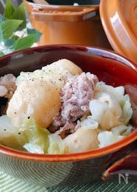 『豚肉とじゃがいもとキャベツの塩・バター重ね蒸し』