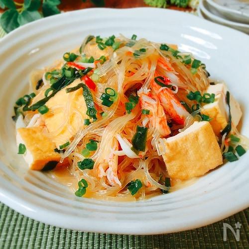 夕飯のおかず☆厚揚げと春雨とカニカマの韓国風煮物