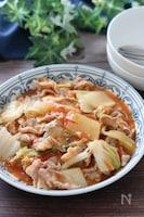 野菜の水分で栄養満点♡豚ばらと白菜のトマト中華とろみ炒め煮