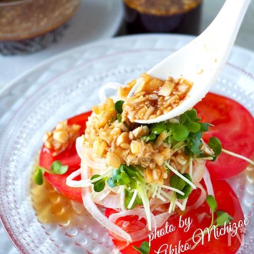 【らくレピ】トマトと新たまねぎのサラダ*万能中華だれ