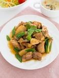 鶏もも肉と絹さやのニンニク醤油炒め