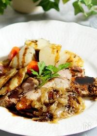 『ストウブ鍋で根菜のポットロースト』
