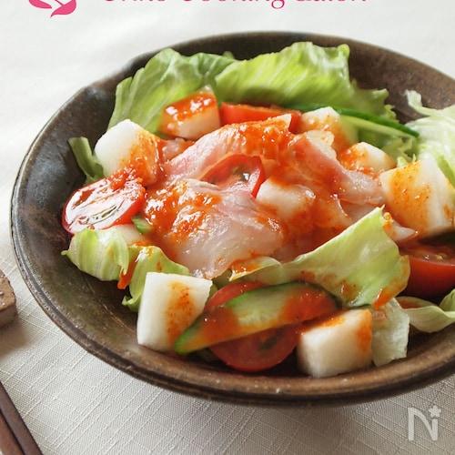 鯛と梨のピリ辛サラダ