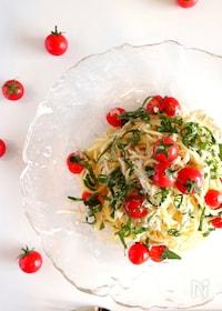 『【美味!】完熟ミニトマトとしらすの冷製パスタ』