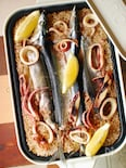 秋刀魚とイカの玄米パエリア。