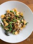 ひき肉とインゲンと卵の中華風炒め