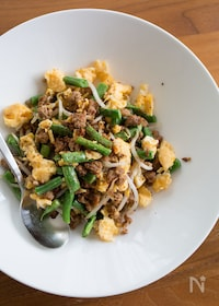 『ひき肉とインゲンと卵の中華風炒め』