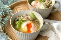 【レンジだけ超簡単!】きのこと豚肉の落とし卵スープ♡