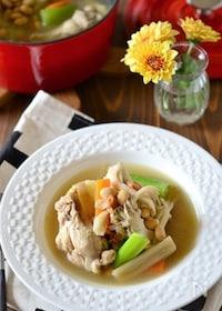 『手羽元と大豆の食べるサムゲタン風スープ鍋 』