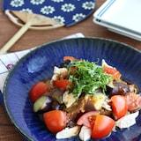 【ヘルシーおかず】レンジで簡単!なすとささみの梅風味サラダ