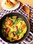 技のいらない!ソーセージと小松菜の簡単オムレツ