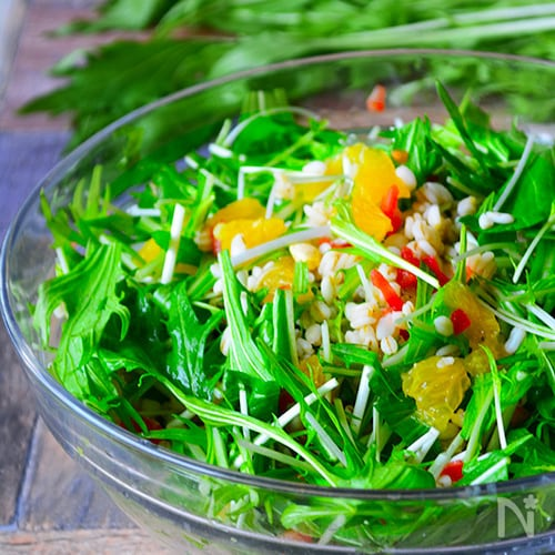 水菜と甘夏と押し麦のぺっぴんサラダ
