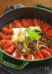 『【だし不要・簡単】牛肉とトマトのすき煮』