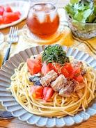 さっぱりおいしい♩『トマトと鯖缶の和風冷製パスタ』