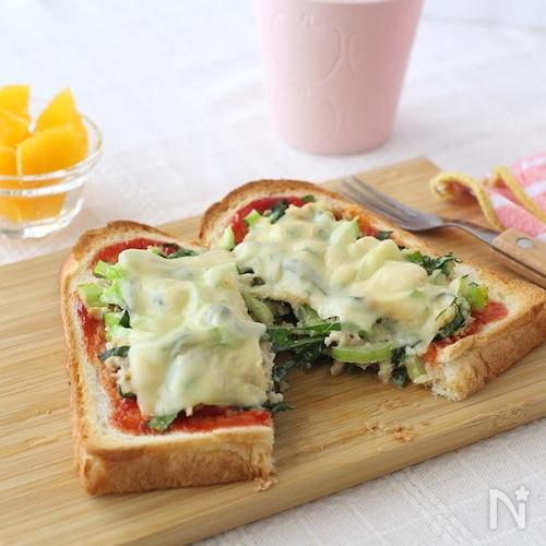 小松菜ツナトースト♪5分で完成!子どもに人気