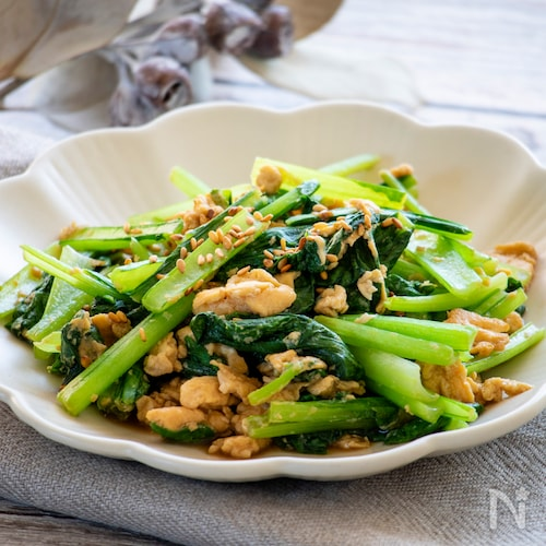 小松菜と豆腐のオイスター炒め
