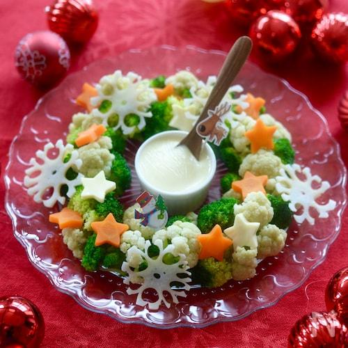 クリスマスに☆温野菜のリースサラダ