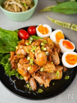 身体の為に生姜を【鶏もも肉の生姜甘辛照り焼きのゆで卵添え】