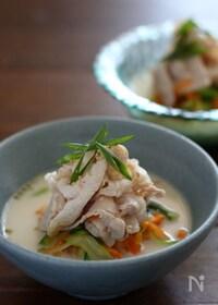 『ベジヌードルと豚しゃぶの豆乳味噌スープ。』
