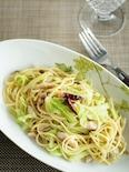 鯵の干物とキャベツのぺペロンチーノスパゲティ