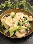 水晶鶏と小松菜のゆず胡椒炒め
