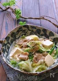 『キャベツと豚バラと豆腐とオクラの旨塩とろみ煮』