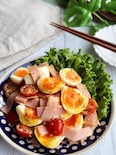 卵とトマトとハムの和風マヨサラダ