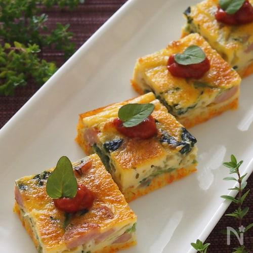 お野菜たっぷり!キッシュ風なカラフル卵焼き。
